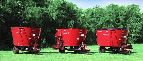 3 Models of VX Series Single Auger Trailer Mixers.
